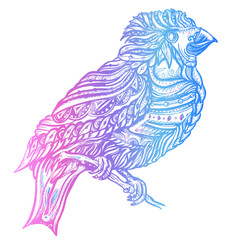 Magic birds tattoo and t-shirt design. Cute ornaments bird on a brunch