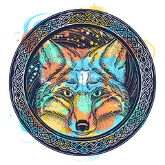 Fox tattoo watercolor splashes style. Symbol of a travel, freedom, tourism. Fox against the background of Universe t-shirt design
