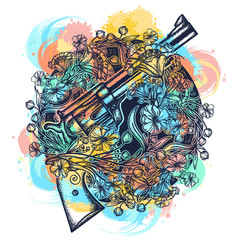 Gun and art nouveau flowers watercolor splashes style tattoo and t-shirt design