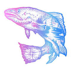Trout double exposure tattoo art and t-shirt design. Symbol of fishing, tourism, wild nature, outdoor, travel. Salmon double exposure
