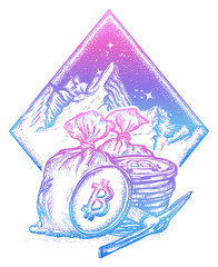 Bitcoin and mountains, new gold rush tattoo and t-shirt design. Cryptocurrency art