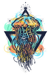 Jellyfish tattoo geometric watercolor splashes style. Mystical symbol of adventure, dreams, deep sea art t-shirt print design poster textile