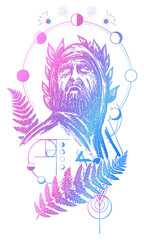 Scientist tattoo and t-shirt design. Great prophet, genius, creator of universe. Symbol of science, art, education, poetry, philosophy, psychology