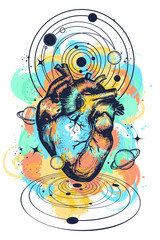 Magic heart in space tattoo. Symbol of love, philosophy, psychology, imagination, dream. Anatomic heart among galaxies and planets t-shirt design watercolor splashes style