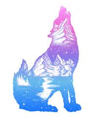 Wolf double exposure tattoo art. Symbol tourism, travel, adventure, outdoor