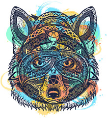 Celtic fox tattoo watercolor splashes style. Wolf t-shirt design art animals. North art. Animals in ethnic style