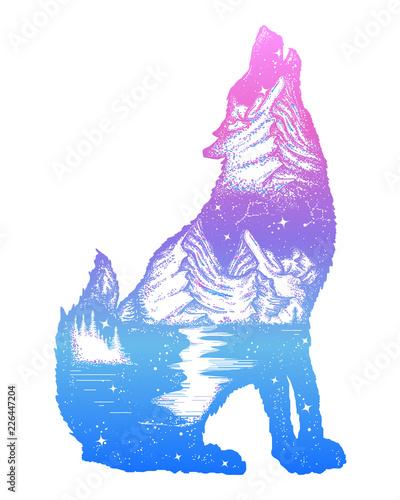 3c25eec67 Symbol tourism, travel, adventure, outdoor. Wolf howls tattoo, mountain  compass and night sky t-shirt design