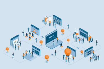 isometric design business research  and online education  concept