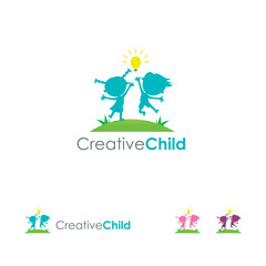 Obraz Creative Child Logo template, Kids Bring Idea logo - fototapety do salonu