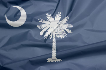Fabric flag of South Carolina. Crease of South Carolina flag background, White palmetto tree on an indigo field. The canton contains a white crescent.