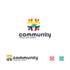 Community logo designs concept vector, Colorful People logo