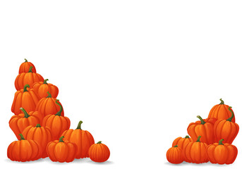 Heaps of ripe orange pumpkins in the corners isolated on white background.