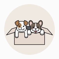 smiling puppy in cardboard box, dog adoption concept in outline cartoon