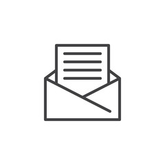 Open Envelope mail outline icon. linear style sign for mobile concept and web design. Received message letter simple line vector icon. Symbol, logo illustration. Pixel perfect vector graphics