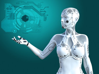 3D rendering of female robot digital concept.