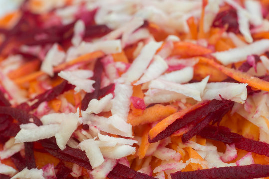 shredded root vegetables