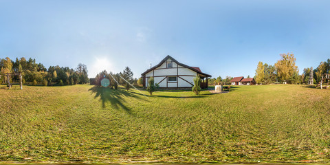 Full seamless 360 degree angle view panorama outside vacation wooden village home in sunny evening day  in equirectangular spherical projection.  for virtual VR AR reality.