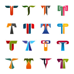 Business company identity letter T icons
