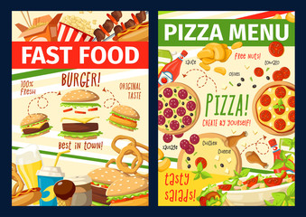 Vector fast food snacks and meals menu