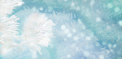 Winter shiny snowflakes blurred background in light blue colors. Blurry Christmas holiday background with snowy branch of fir, frost pattern, soft flares of light, snow flakes. Copy space