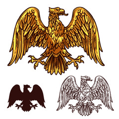 Heraldic golden egale with wings, vector sketch