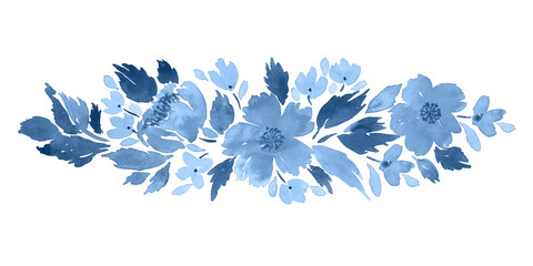 Loose watercolor floral arrangement. Hand painted composition in blue