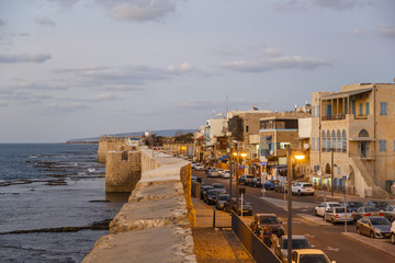 View over the Acre and the old city walls. Acre (Akko), Israel.