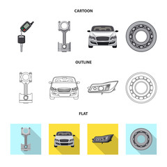 Isolated object of auto and part icon. Collection of auto and car stock symbol for web.