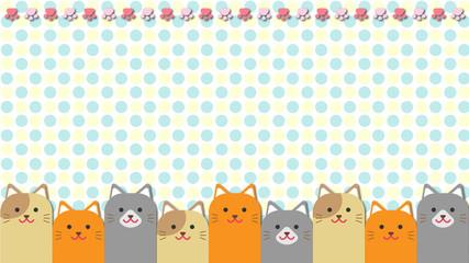 猫・壁紙・水玉