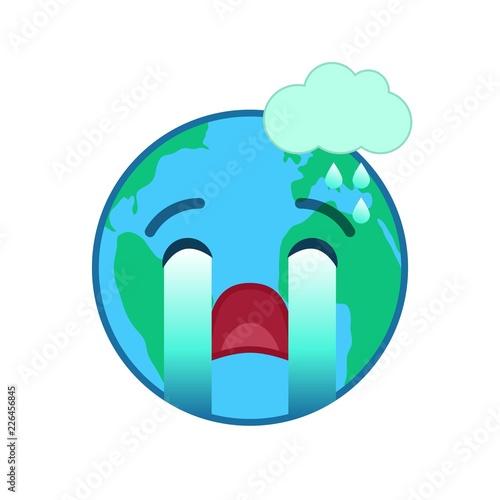 Crying world globe isolated emoticon  Weeping planet emoji  Social