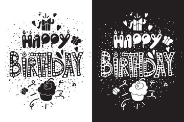 Happy Birthday Greeting Card in black white themes