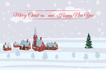 Merry Christmas and Happy New Year village houses with snow fall. Vector, cartoon style, poster, card, baner, background.