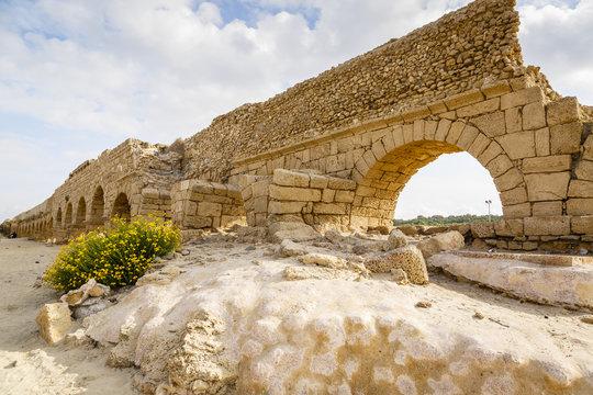 The Roman aqueduct, Caesarea, Israel.