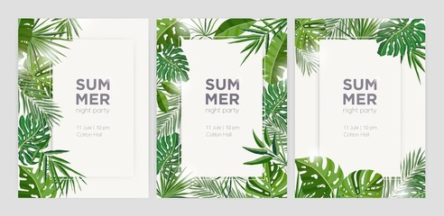 Collection of vertical summer backgrounds with frames or borders made of green tropical palm leaves or jungle exotic foliage and place for text. Seasonal colorful realistic vector illustration. Wall mural