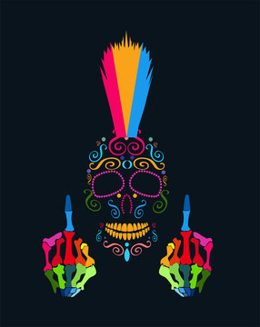 Punk skull with middle finger and Mohawk vivid color