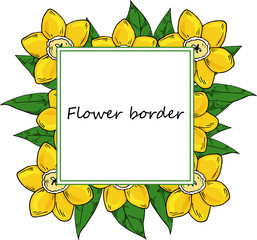 Flower vector drawing frame. Isolated template. Hand drawn floral wedding invitation, label template, anniversary card.