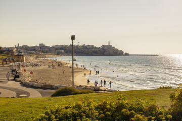 View over the Charles Klor beachwith a view of old Jaffa at the end, Israel.