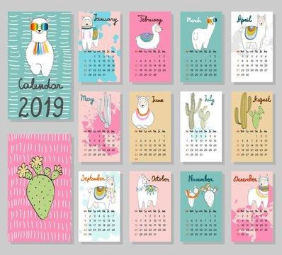 Hand drawing vector Calendar 2019 with llamas. Week starts from Sunday.