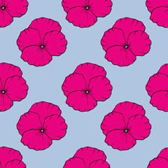 Floral seamless pattern. hand drawn illustration. Bright cartoon illustration for card design, fabric and wallpaper.