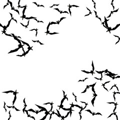 Halloween background with black bats on white. Halloween party card background template. black flying bats.