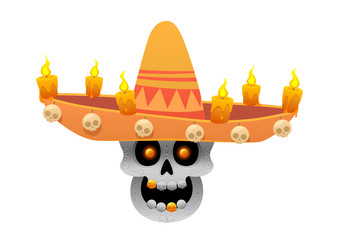 Cartoon Mexican sugar skull vector illustration for Dia de los Muertos with sombrero hat