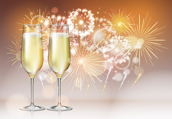 Realistic vector illustration of champagne glasses on holiday golden firework background