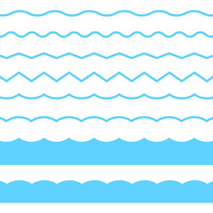 Wall Mural - Blue line wave ornament. Vector blue wave icons set on white background. Seamless vector marine wave decoration.