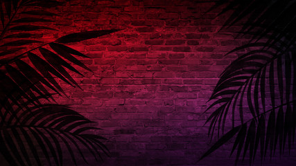Background of an empty corridor with brick walls and neon light. Brick walls, neon rays and glow