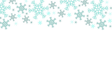 White Christmas background with blue snowflakes