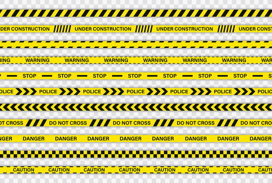 Creative Police line black and yellow stripe border. Police, Warning, Under Construction, Do not cross, stop, Danger. Set of danger caution seamless tapes. Crime places. Construction sign.