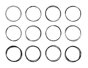 Wall Mural - Set hand drawn circle line sketch set. Circular scribble doodle round circles for message note mark design element. Vector illustration on background.