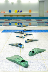 Moscow, Russia - September, 24, 2018: comic track from flippers go to the water in a swimming pool in Privet school in Moscow