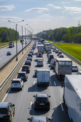Moscow region, Russia - September, 16, 2018: Traffic jam on the highway in Mosocw region
