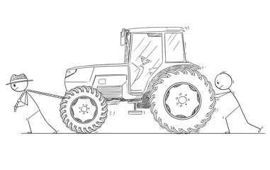Cartoon stick drawing conceptual illustration of two men or farmers pushing and pulling broken or malfunction agricultural tractor.